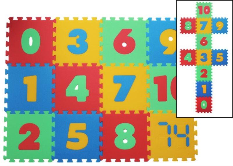Pěnové puzzle Čísla 8mm, 4 barvy, MALÝ GÉNIUS