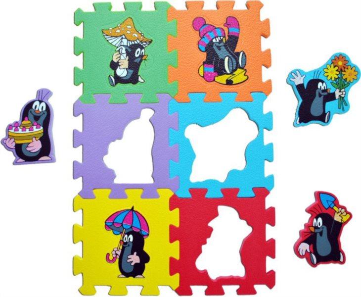 Pěnové puzzle, Krtek 6x jinak (díl 15x15cm)