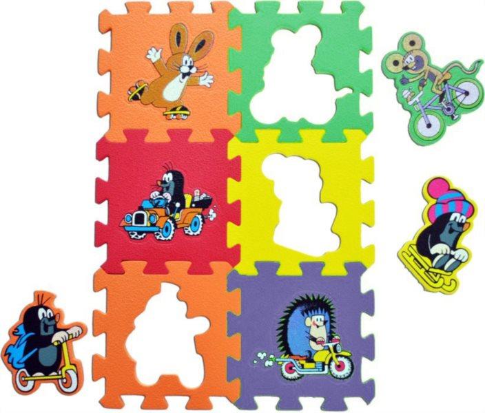Pěnové puzzle Krtek - dopravní prostředky (15x15)