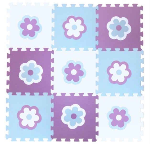 Pěnové puzzle - pěnový koberec - Kytičky modré (díl 30x30cm)