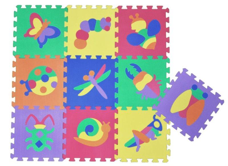 Pěnové puzzle - pěnový koberec, Louka - hmyz (díl 30x30cm)