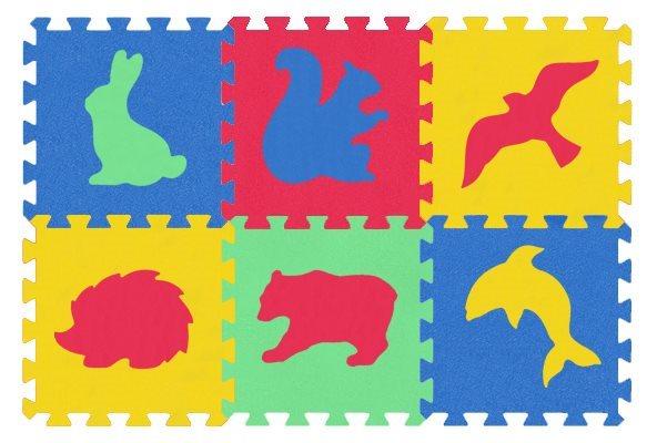 MALÝ GÉNIUS Pěnové puzzle MAXI Zvířata divoká 8mm, 4 barvy