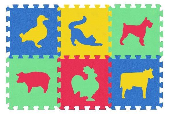 MALÝ GÉNIUS Pěnové puzzle MAXI Zvířata domácí silné, 4 barvy
