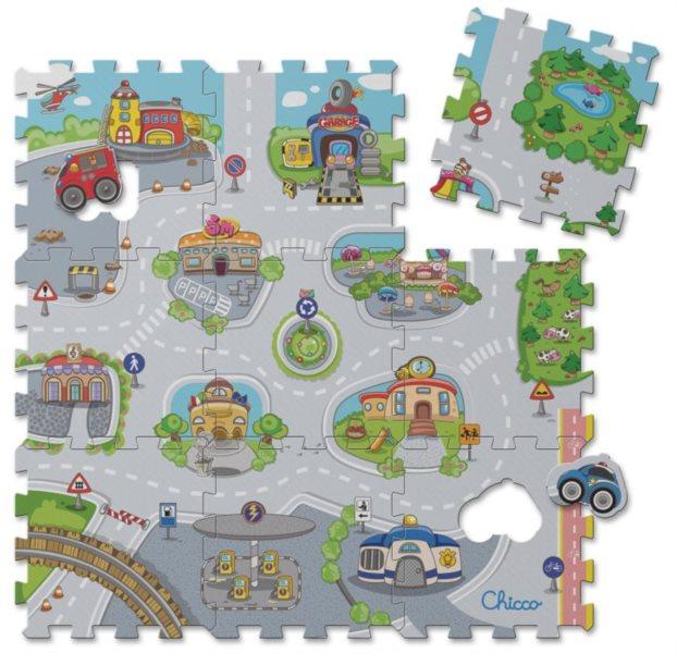 CHICCO Pěnové puzzle Městečko od 1 roku - 89x89 cm