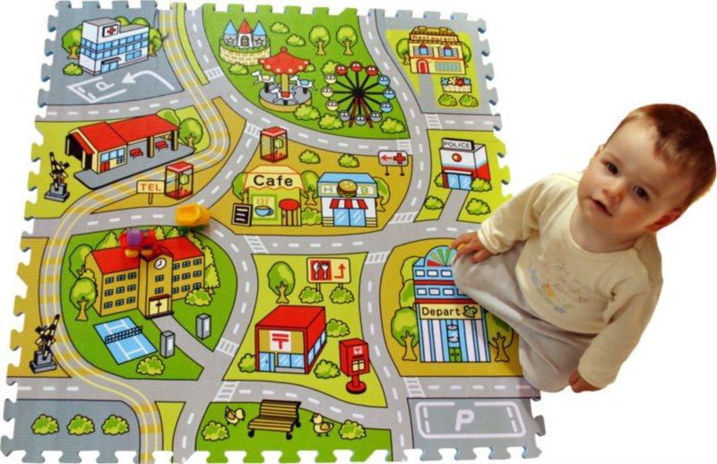 Pěnové puzzle - koberec s cestami, Město
