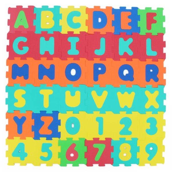 SUN TA TOYS Pěnové puzzle Písmena a čísla 36ks (15x15)