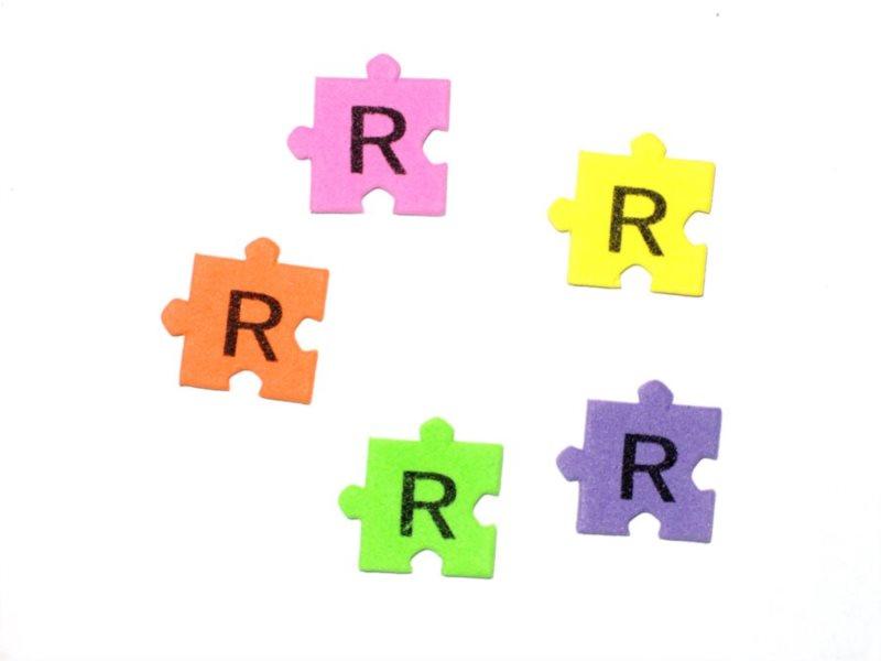 Pěnové puzzle písmenko R (2ks)