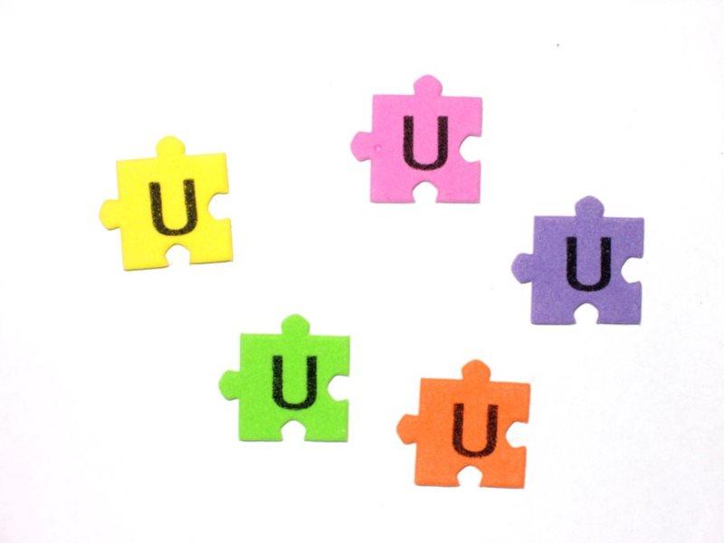 Pěnové puzzle písmenko U (2ks)