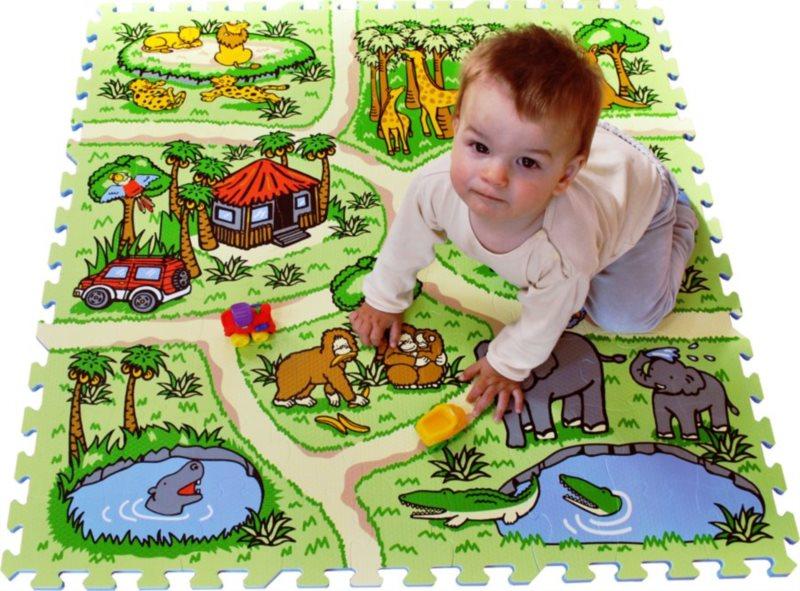 Pěnové puzzle - koberec s cestami, Safari