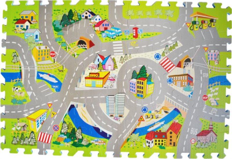 Pěnové puzzle - koberec, Silnice se značkami