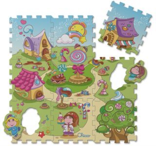 CHICCO Pěnové puzzle Sladká vesnička od 1 roku - 89x89 cm