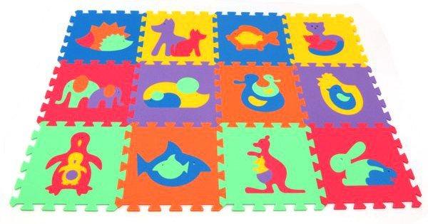 Pěnové puzzle Zvířata 30x30cm, 8mm - MALÝ GÉNIUS, 6 barev