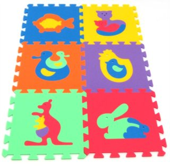 Pěnové puzzle Zvířata A 30x30cm, 8mm - MALÝ GÉNIUS, 6 barev