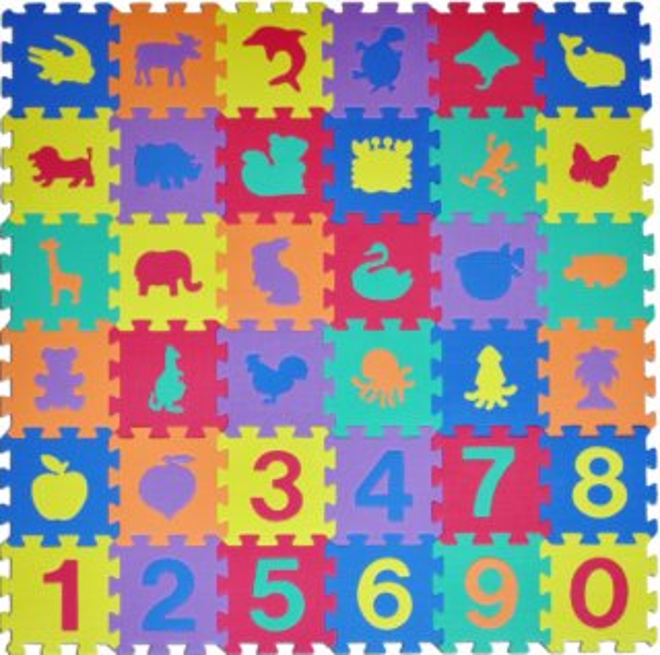 Pěnové puzzle Zvířata a čísla (15x15)