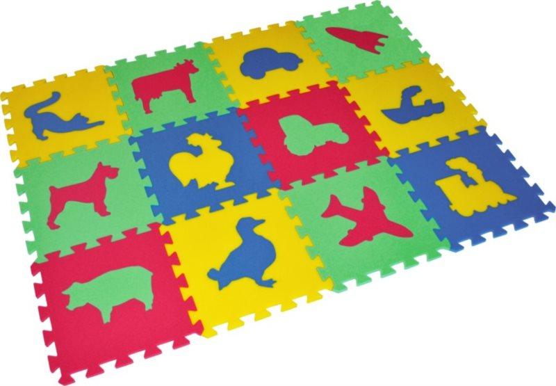 Pěnové puzzle Zvířata a doprava 30x30cm, 8mm - MALÝ GÉNIUS