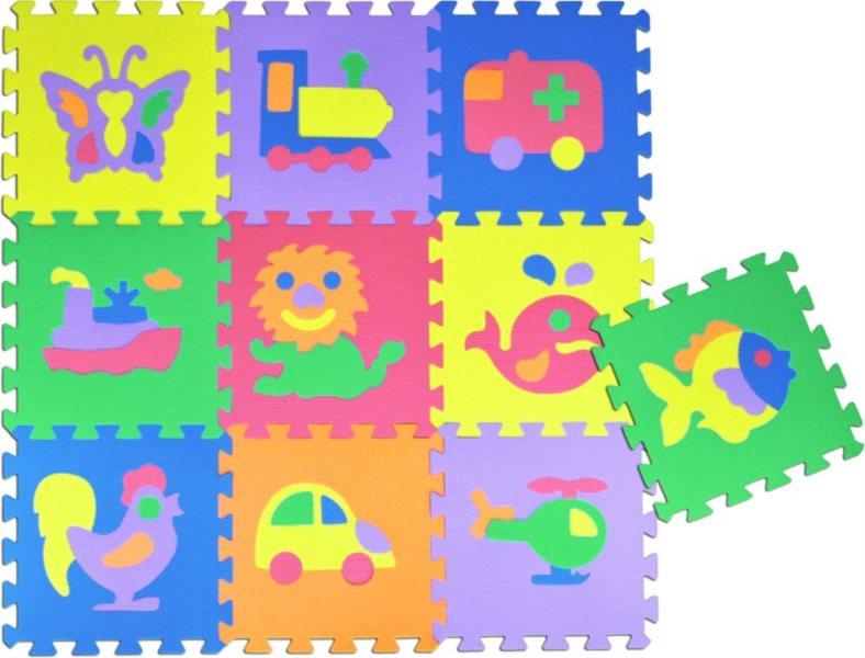 Pěnové puzzle - pěnový koberec, Zvířata a doprava II (díl 30x30cm)