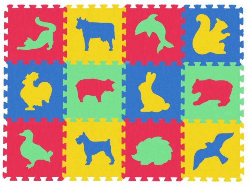 MALÝ GÉNIUS Pěnové puzzle Zvířata domácí,divoká silný (30x30) mix-4