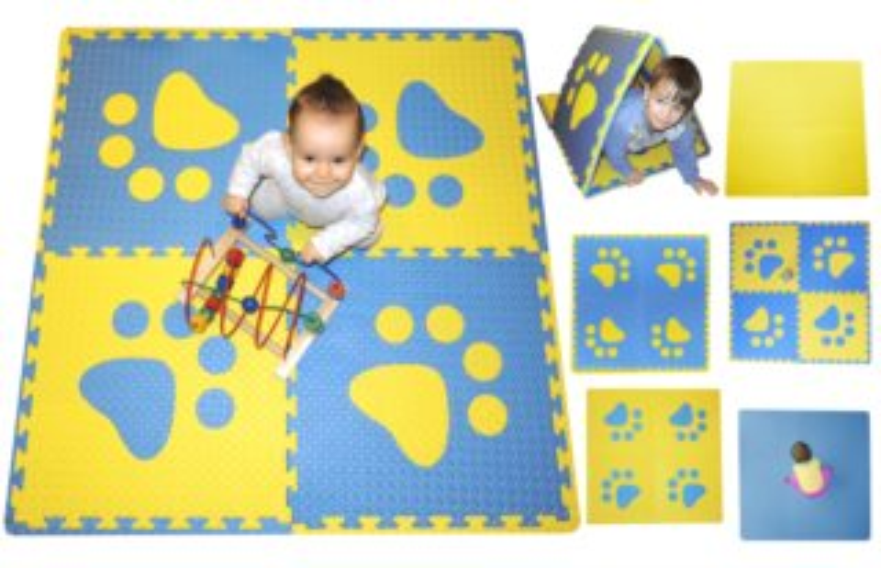 Pěnový BABY koberec s okraji - modrá,žlutá