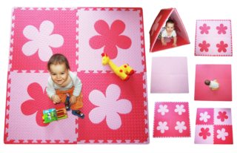 Pěnový BABY koberec s okraji - růžová,červená