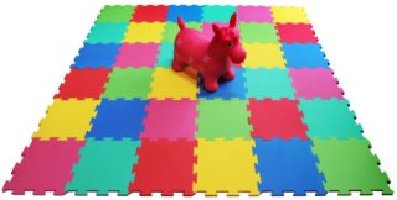 Pěnový koberec extra 36 dílů, šestibarevný 0+