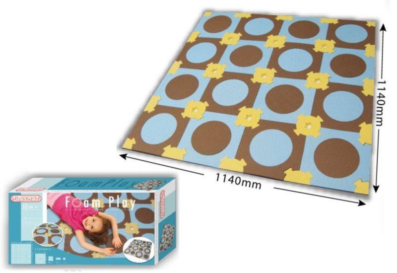 Pěnový koberec Kolečka hnědá-modrá 114x114 cm