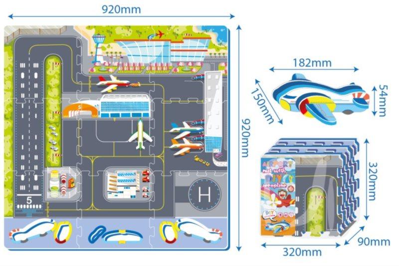 SUN TA TOYS Pěnový koberec Letiště s letadlem
