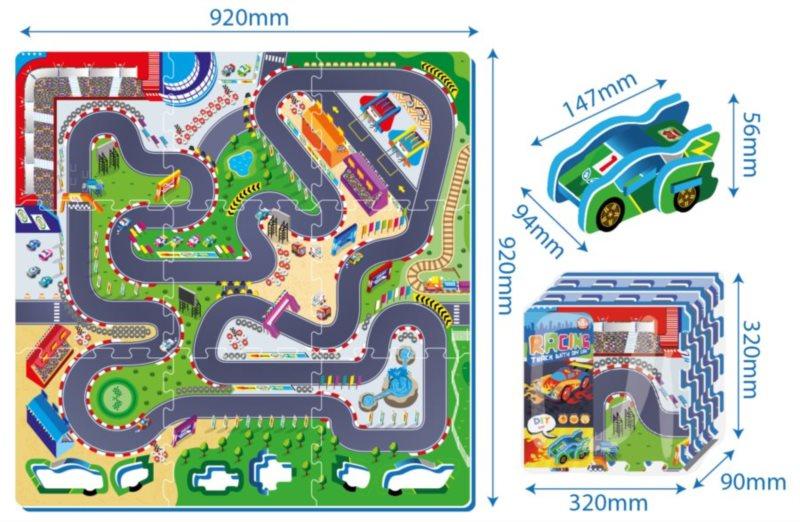 Pěnový koberec Závodní okruh s formulí