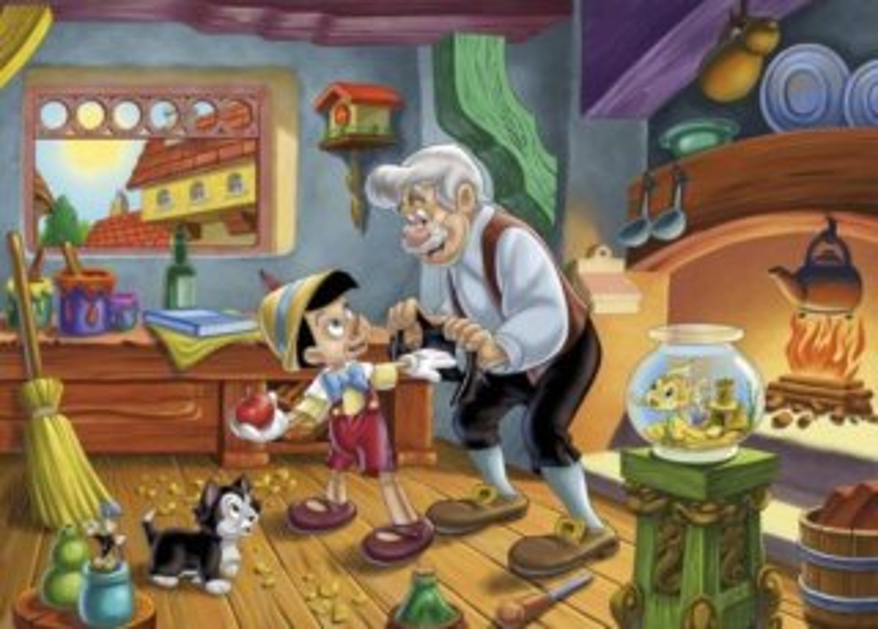 Dětské puzzle 104 dílků - Pinokio v dílně pana Geppetta