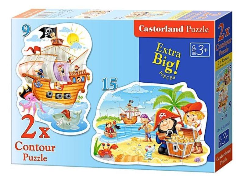 Dětské puzzle CASTORLAND - Piráti s pokladem (9-15 dílků)