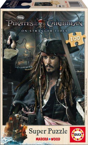 poškozený obal: Dřevěné puzzle EDUCA 100 dílků - Piráti z Karibiku: Na vlnách podivna