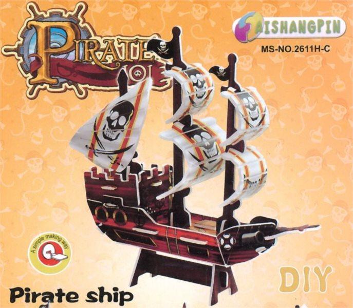 3D puzzle - Pirátská loď (hnědá)