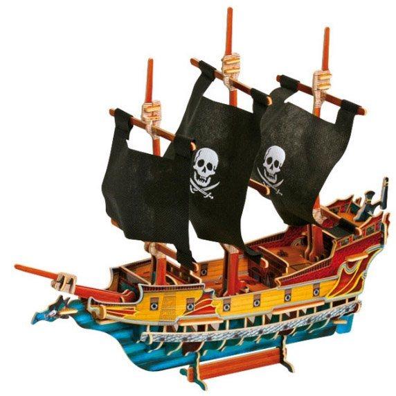 SMALL FOOT 3D puzzle Pirátská loď I. barevná
