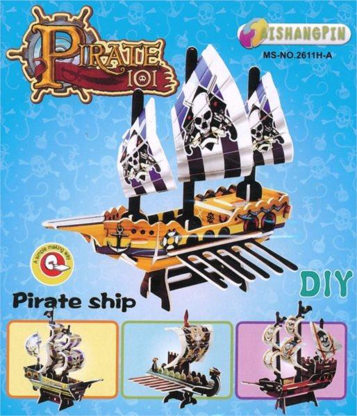 3D puzzle - Pirátská loď (žlutá)