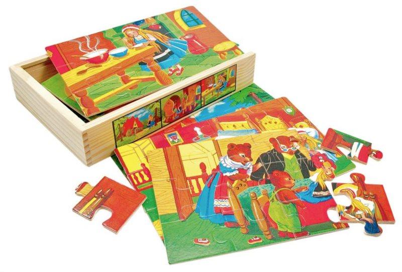 Puzzle BINO 88013 Pohádky, 6x12 dílků - Dřevěné puzzle pro děti
