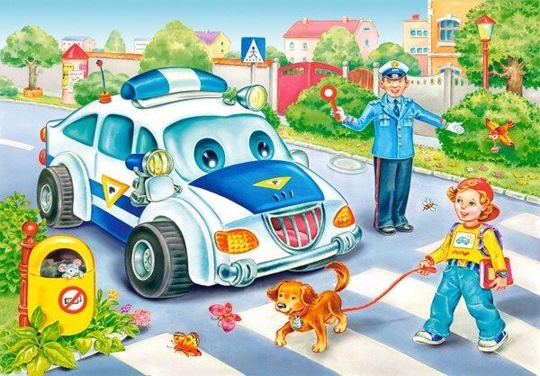 CASTORLAND Dětské puzzle 24 dílků - Policejní auto