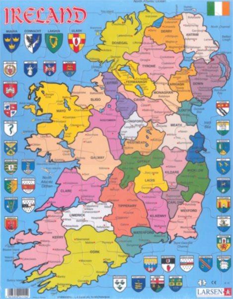LARSEN Puzzle Politická mapa Severního Irska 48 dílků
