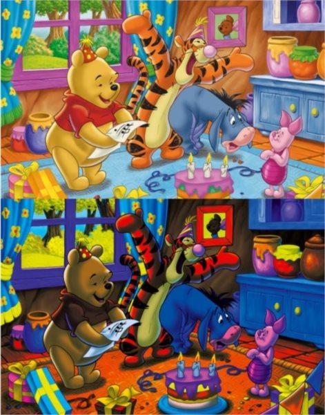 poškozený obal: CLEMENTONI svíticí puzzle Medvídek Pú: Narozeninová oslava 104 dílků