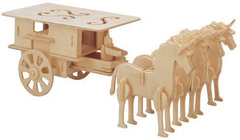 3D dřevěné puzzle Povoz