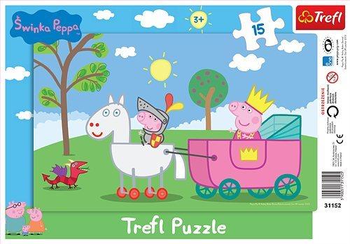 Trefl Deskové puzzle Prasátko Peppa Pig rytíř A4 15 dílků