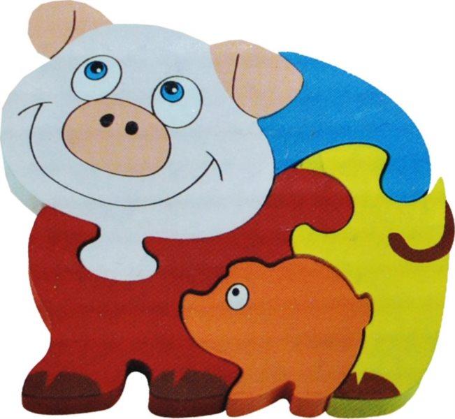 Dětské dřevěné puzzle, Prasátko se selátkem