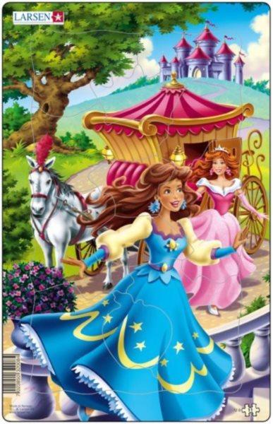 LARSEN Puzzle Princezny s kočárem 11 dílků