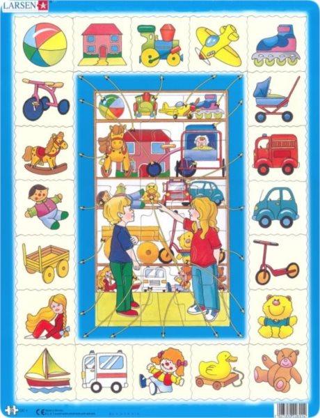 Vzdělávací puzzle LARSEN 35 dílků - Přiřaď k sobě: Hračky