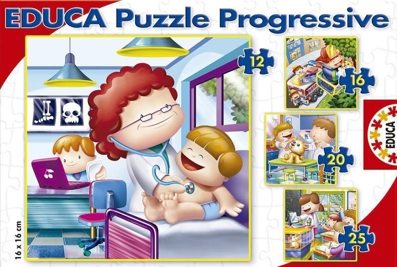 EDUCA Puzzle Čím budu, až vyrostu 4v1 (12,16,20,25 dílků)