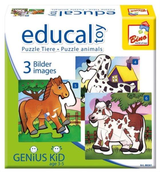 Progresivní puzzle pro děti BINO Zvířátka, 4 + 5 + 6 dílků