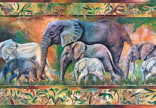 Puzzle CASTORLAND 1000 dílků - Sloní průvod