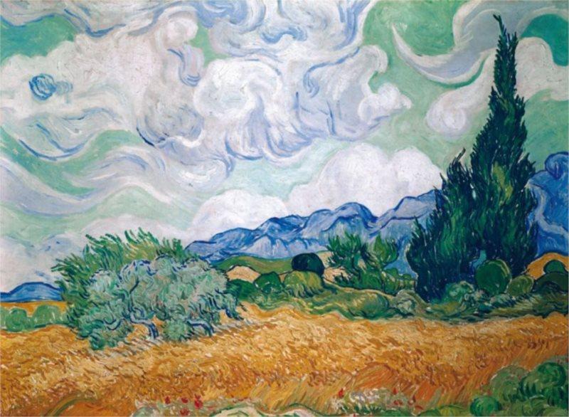 Puzzle PIATNIK 1000 dílků - V. Gogh: Pšeničné pole s cypřiši