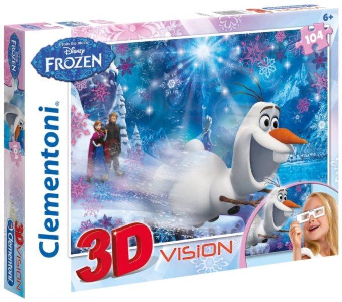 Dětské puzzle + 3D brýle - CLEMENTONI, Ledové království 104 dílků