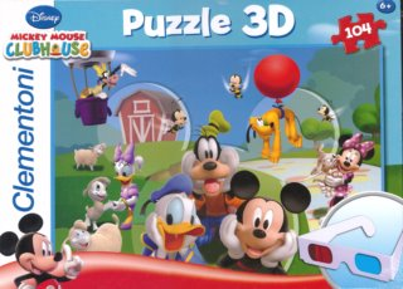Dětské puzzle + 3D brýle - CLEMENTONI Mickey Mouse, 104 dílků