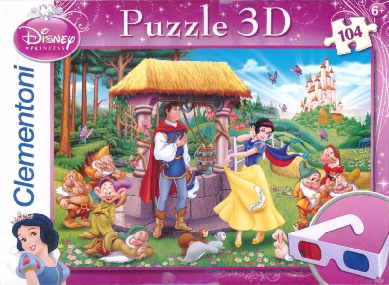 Dětské puzzle + 3D brýle - CLEMENTONI Sněhurka: Vyznání 3D, 104 dílků