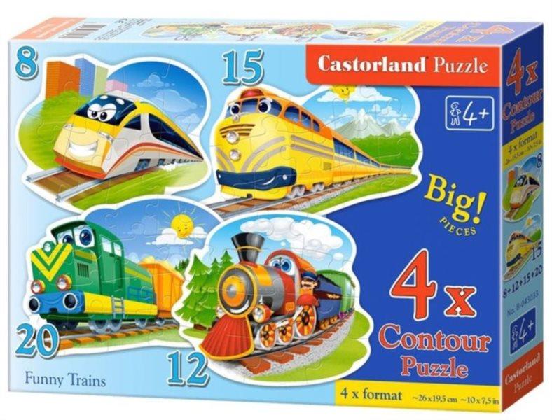 Dětské puzzle CASTORLAND - Veselé vláčky 4v1 (8-20 dílků)